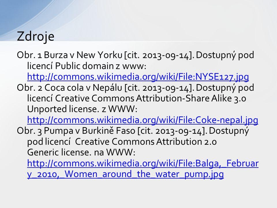 Zdroje Obr. 1 Burza v New Yorku [cit. 2013-09-14]. Dostupný pod licencí Public domain z www: http://commons.wikimedia.org/wiki/File:NYSE127.jpg.